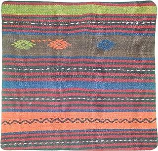 EuroHand Tasyolu - 24 x 24 Inch, Anadolu Designed, Square Shaped Pillowcase - Anatolian Village Handmade Turkish Wool Kilim Pillowcase with Hidden Zipper - No Insert Included