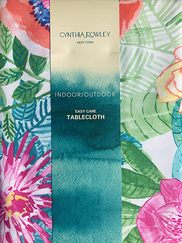 Cynthia Rowley Tablecloth Tropical Jungle Floral Pattern In Shades Of Blue Green Pink Orange On White Easy Care Indoor Outdoor Tortuga Floral 60 Inches X 84 Inches