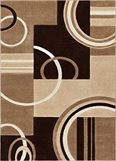 Galaxy Waves Ivory & Brown Geometric Circles Ruby 5'3'' X 7'3'' Well Woven Plush Area Rug (60012)