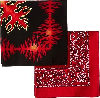Levi's Men's 100% Cotton Multi-Purpose Bandana Gift Sets – Headband, Face Mask,Wrap, Black/Red, One Size