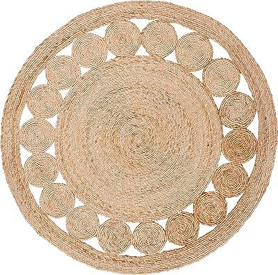 Safavieh Natural Fiber Round Collection NFB247A Handmade Boho Country Charm Jute Area Rug, 4' x 4' Round, Natural