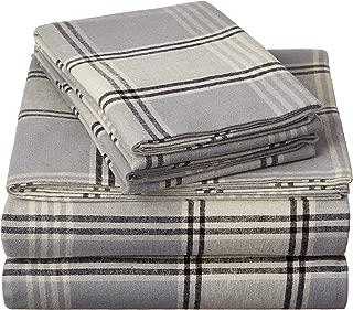 Pinzon Plaid Flannel Bed Sheet Set - Queen, Grey Plaid