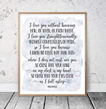 456Yedda I Love You Without Knowing Pablo Neruda 100 Love Sonnets Wedding Quotes Love Poem Print Romantic Quote Love Poetry Wood Pallet Design Wall Art Sign Plaque with Frame Wooden Sign