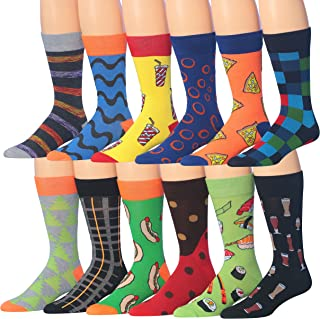 Mens 12-Pairs Funny Funky Crazy Novelty Colorful Patterned Dress Socks