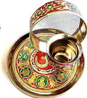 5 Piece Karwa Chauth Pooja Thali Set with Meenakari Work by Heirloom Quality
