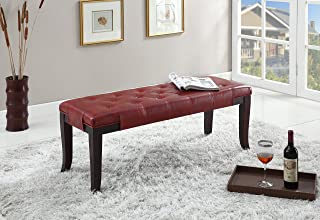 Roundhill Furniture Linon Leather Tufted Ottoman Bench, Red