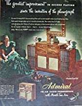 Admiral FM-AM Radio-Phonograph, 40's Print ad. Full Page Color Illustration (miracle tone arm / woman in Fred A. Block, gown) Original Vintage 1947 Collier's Magazine Print Art