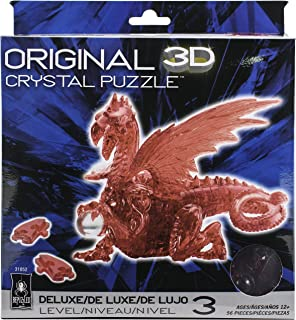 Bepuzzled Deluxe 3D Crystal Jigsaw Puzzle – Red Dragon DIY Assembly Brain Teaser,..