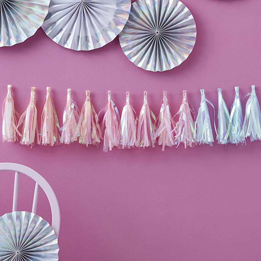 Ginger Ray Pastel Iridescent Holographic Foil Tassel Garland Decoration - Iridescent Party