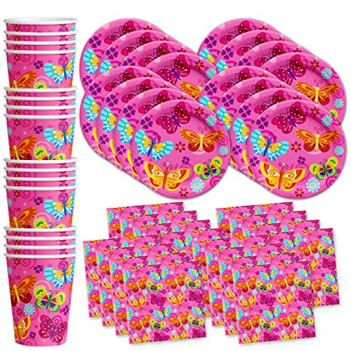 Whimsical Pink Butterfly Birthday Party Supplies Set Plates Napkins Cups Tableware Kit For 16 By