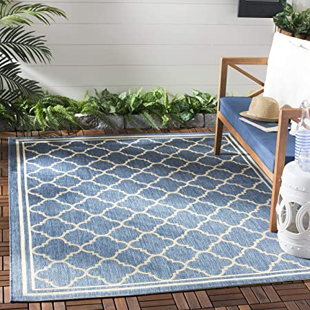 Amazon Com Safavieh Courtyard Collection Cy6918 Trellis Indoor Outdoor Non Shedding Stain Resistant Patio Backyard Area Rug 5 3 X 7 7 Blue Beige Furniture Decor