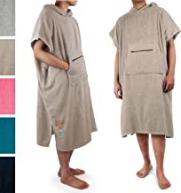 SUN CUBE Surf Poncho Changing Robe with Hood  Terry Cotton Changing Towel (Taupe)