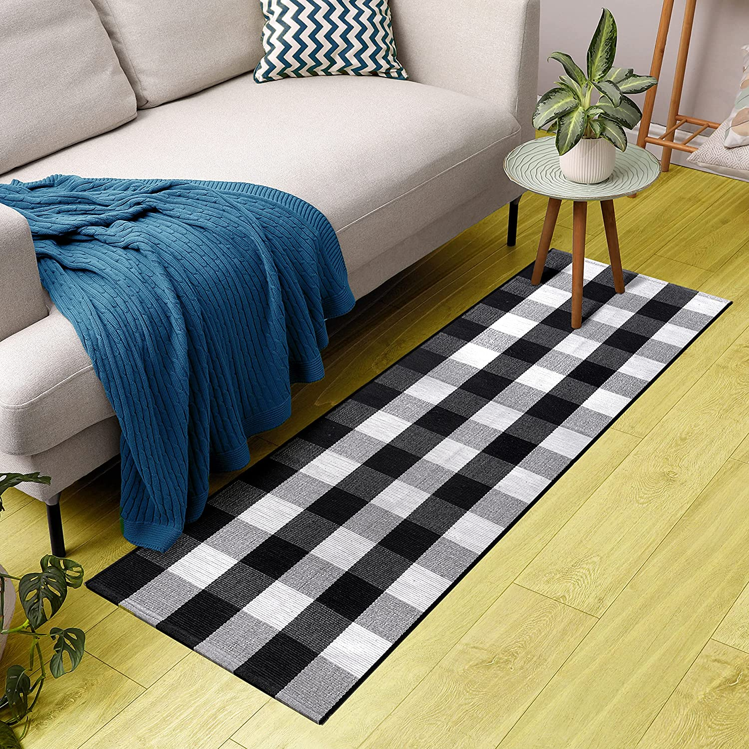 """Black and Sales White Brand new Buffalo Plaid Rug - 24""""х71Outdoor Indoor"""
