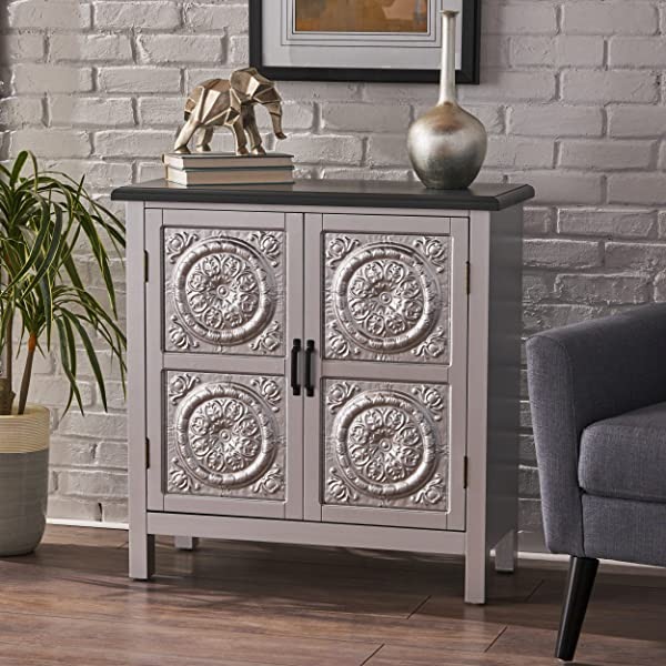 Christopher Knight Home 303265 Alana Firwood Cabinet With Faux Wood Overlay And Top Silver Charcoal Grey