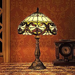 Gweat Vintage 12-Pouce Tiffany Style Européen Vitrail Lost In Violet Série Lampe De Table Lampe De Chevet