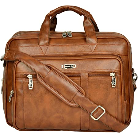 Zipline Office Laptop Vegan Leather Executive Formal 15.6 inch Laptop & MacBook Briefcase Messenger/Office/Travel/Business Bag for Men Women with Multiple compartments (Brown)