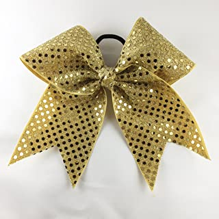Arrow and Bowss Vegas Gold Cheerleading Bow - Competition Grade Hair Bow 3 Inch Ribbon