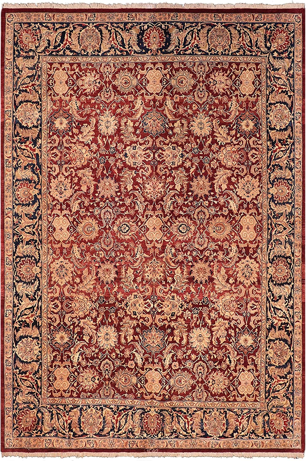 Antique Vegetable Dyed Agra Limited time sale Sindy Red Blue Max 73% OFF 8'1'' Rug x - 10 Wool