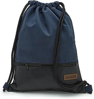 By Bers LEON Turnbeutel, große Reißverschluss Außentasche, mit Innentaschen Rucksack Tasche Damen Herren & Teenager Gym Bag Draw String Dkl.Blau_Schwarz_PU