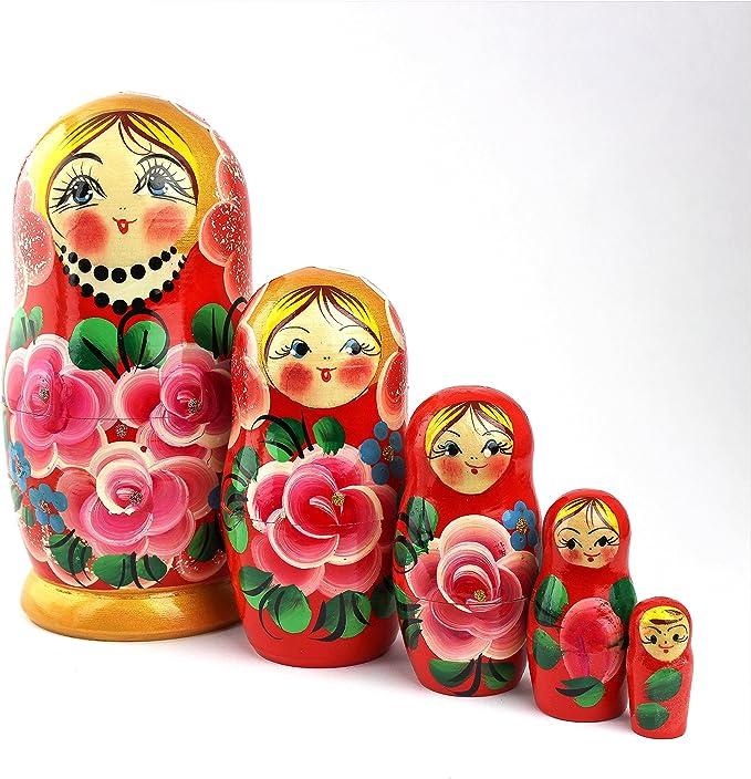 723 opinioni per Heka Naturals Matrioske Russe, 5 Matrioske Tradizionali Stile con Rose  