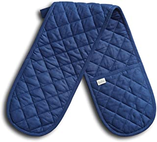 Solino Home Linen Double Oven Glove/Mitt – 7 x 35 Inch, 100% Pure Linen - Blue