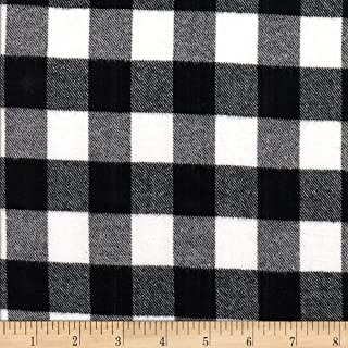 Textile Creations Windstar Twill Flannel 1inch Buffalo Check Black/White Fabric by the Yard