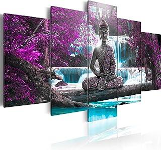 murando - Cuadro en Lienzo Buda 200x100 cm Impresión de 5 Piezas Material Tejido no Tejido Impresión Artística Imagen Gráf...