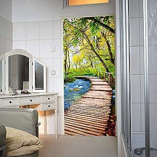 murimage Papel Pintado Puerta Bosque Pasarela 86 x 200 cm Incluye Pegamento Madera Sendero Puente Rústico Río Árboles 3D F...