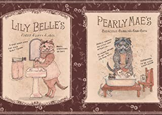 Vintage Bath Iron Soap Ads with Kitten Maroon Wallpaper Border for Kitchen Bathroom, Roll 15' x 7''