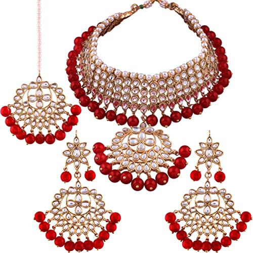I Jewels Traditional Kundan & Pearl Choker Necklace Set for Women (K7058R) product image