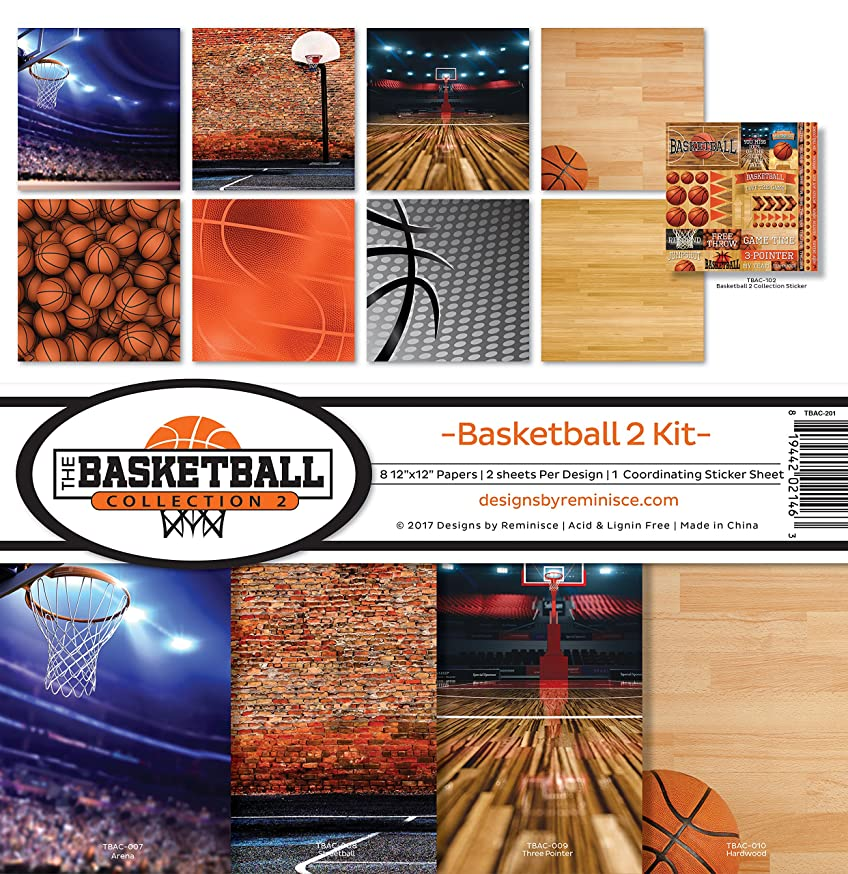 Reminisce TBAC-201 The The Basketball Collection 2 Scrapbook Kit, Vin Tall, 27.6