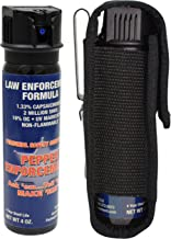 Pepper Enforcement 4 oz. Splatter Stream Police Strength 10% OC Spray and Tactical Metal Clip Holster - Professional Grade Emergency Self Defense Non Lethal Weapon for Personal Protection