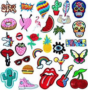 SGJING 32pcs Embroidery Decorative Patches, Down Jacket Repair Patch,Different Style Iron on Pretty Patches , Exquisite Decorative Clothing DIY Patches for Clothing Letter Jeans(BL-18)