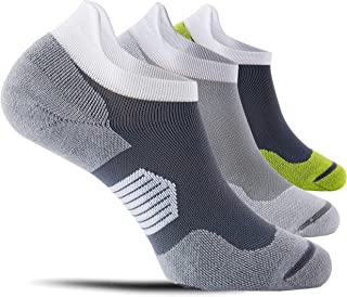 CelerSport 3 Pack Ankle Compression Running Socks for Men, Low Cut Athletic Socks with Arch Support, Dark Grey+Light Grey+...