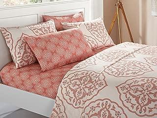 Chic Home 6 Piece Marquis Two-Tone Medallion Print Pattern Design King Sheet Set Brick
