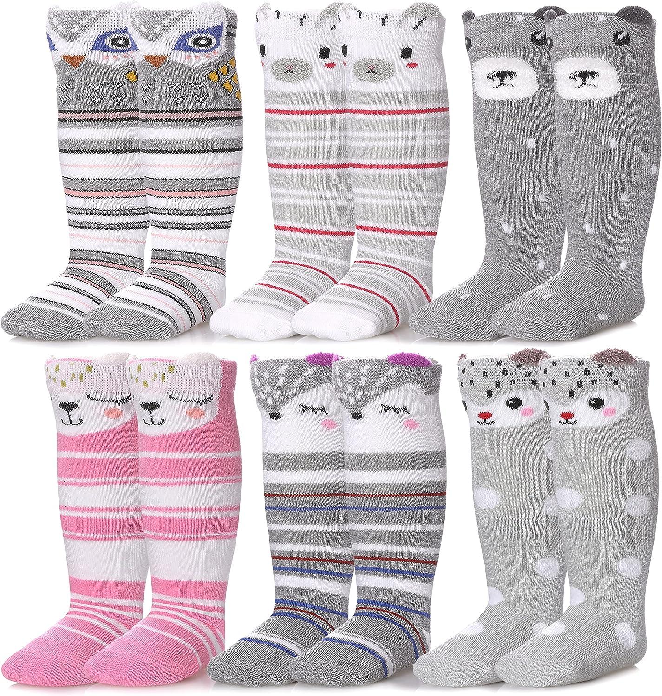 SDBING 1-6 Years Toddler Knee High Socks Unisex Baby Boys Girls Soft Cute Cartoon Cotton Long Socks