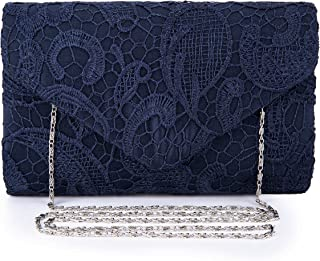 Women's Elegant Floral Lace Evening Clutch Envelope Prom Handbag Wedding Purse