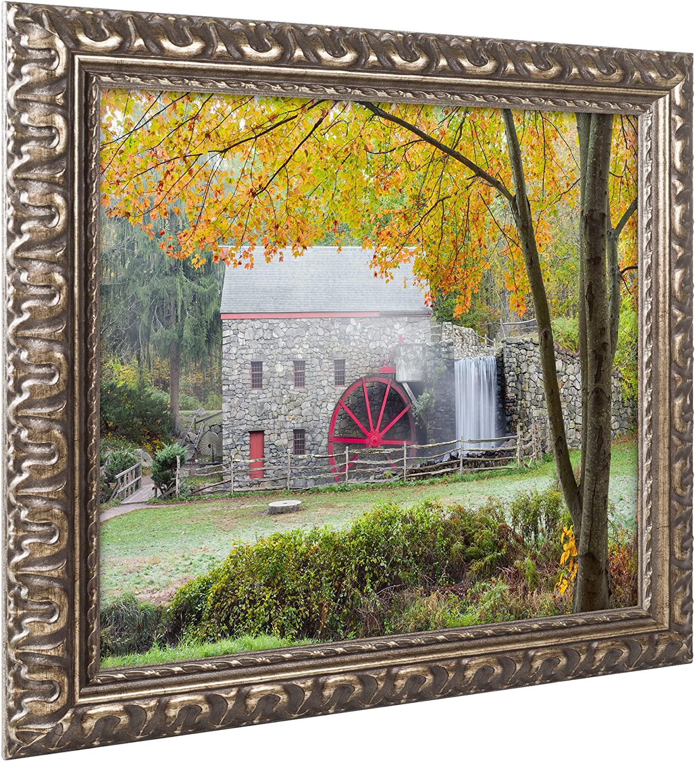 Amazon Com Grist Mill Autumn By Michael Blanchette Photography Gold Ornate Frame 11x14 Inch Home Kitchen