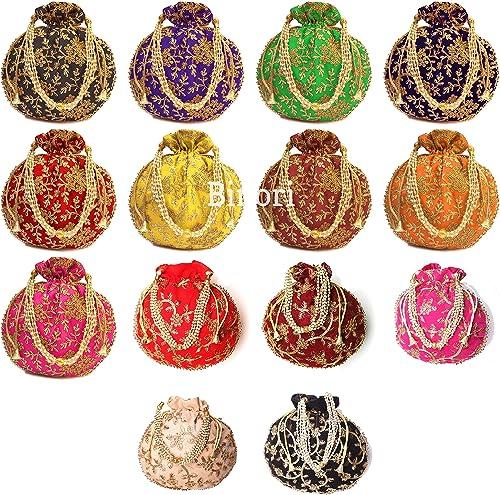 BINORI FASHIONS Rajasthani Style Royal Clutch Silk Batwa Bag Combo Wristlets Ethnic Potli Combo For Women's Zari Work...