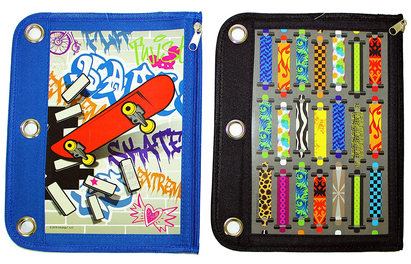 Inkology Skateboard Binder Pencil Pouch, 10.5 x 8.25 Inches, Black and Blue - Design Will Vary (437-0)