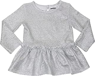Mini Series Toddler Girls Metallic Glitter Long Sleeves Ruffled Top