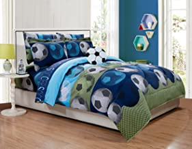 Fancy Linen Collection 8pc Full Size Soccer Blue Green White Black Comforter Set With Furry Buddy Included New