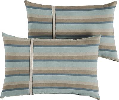 Amazon Com Mozaic Amps113669 Indoor Outdoor Sunbrella Lumbar Pillows Set Of 2 12 X 18 Mist Blue Grey Stripes Silver Grey Garden Outdoor