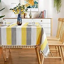 AmHoo مخطط شرابة مفرش طاولة خياطة مستطيلة القماش القطن الكتان النسيج غطاء طاولة للمطبخ عشاء طاولة 54 × 70 بوصة أصفر