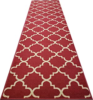 Custom Cut 31-inch Wide by 1-Foot Long Runner, Red Moroccan Trellis Non Slip, Non-Skid, Rubber Backed Stair, Hallway, Kitchen, Carpet Runner Rug - Choose Your Width by Length