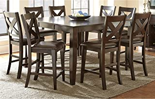Greyson Living Copley Counter Height Dining Set with Self Storing Leaf Espresso 9-Piece Sets