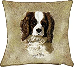 Pure Country Weavers - Cavalier King Charles Spaniel Textured Hand Finished Elegant Woven Throw Pillow Cover 100% Cotton Made in The USA Size 17x17