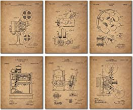 Home Theater Patent Wall Art Prints – Set of 6 Vintage Movie Film Photos
