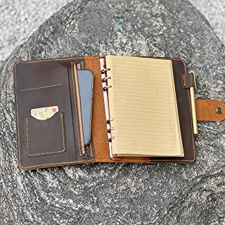 $56 » Sponsored Ad - Vintage Personalized A5 Leather Organizer Agenda/Refillable Genuine Leather binder Diary Travel journal for...