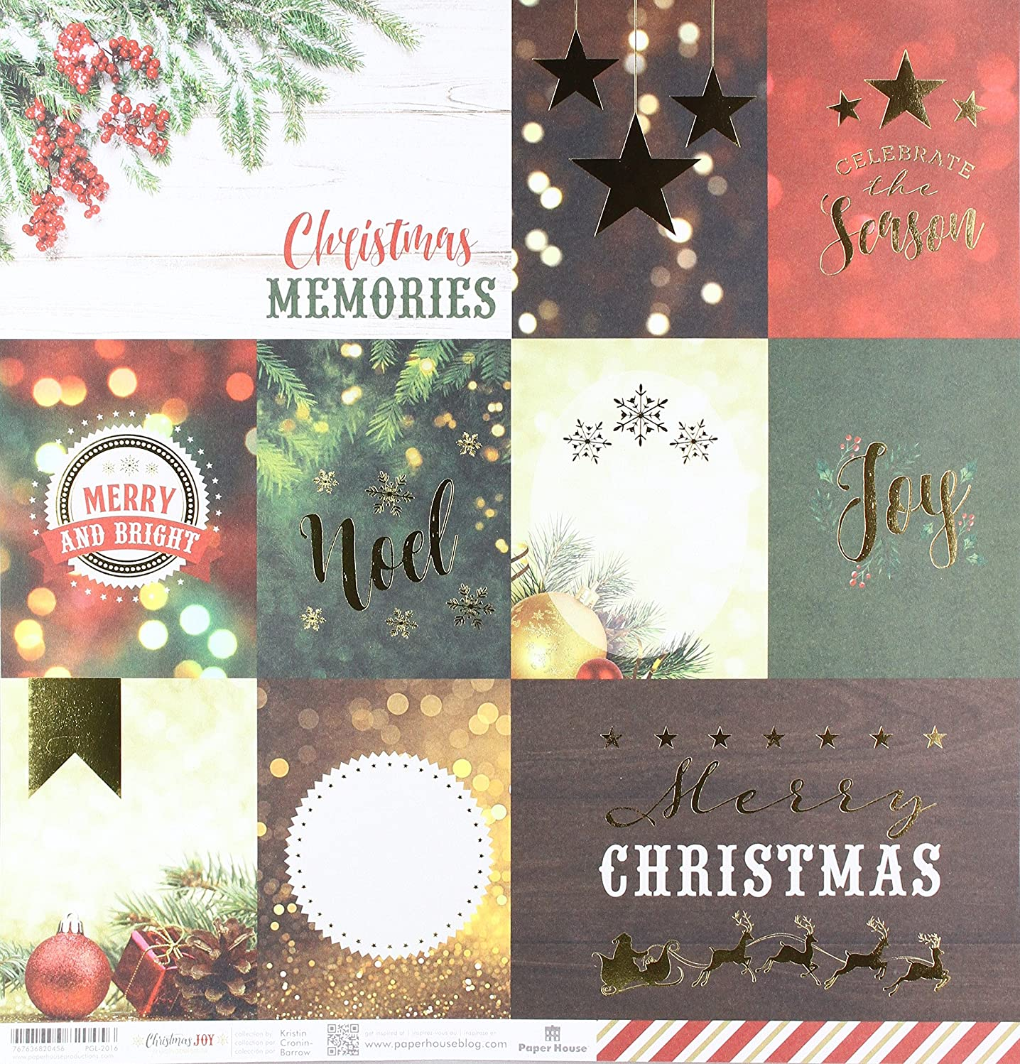 Paper House Productions Christmas Joy Tags Paper, Double Sided, 15-Pack